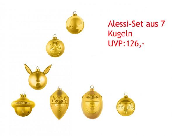 Alessi goldene Weihnachtskugel 7er SET