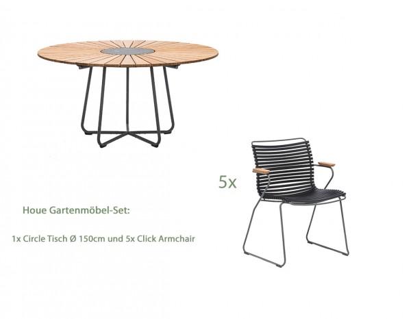 Houe Circle Gartentisch Ø150 cm Set2 mit 5 Stühlen