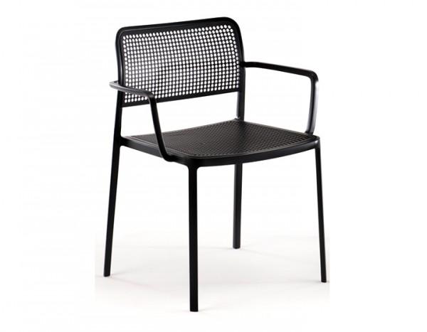 Kartell Audrey Armlehnstuhl Gestell schwarz - Sitzfläche schwarz