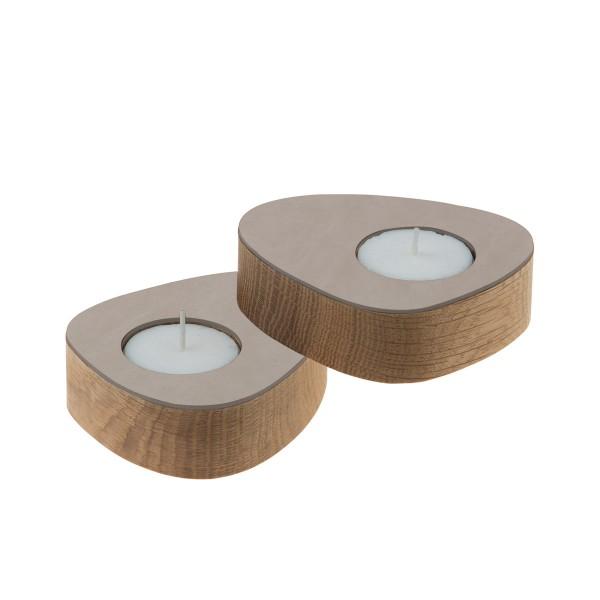 LindDNA Kerzenhalter curve für Teelichter, 2 Stück Eiche/Nupo Braun