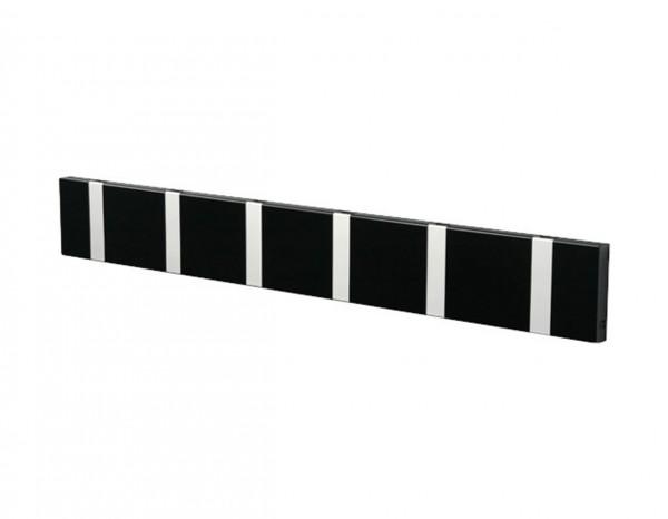 LoCa Knax Garderobenleiste 8 Haken, waagerecht schwarz, Haken schwarz