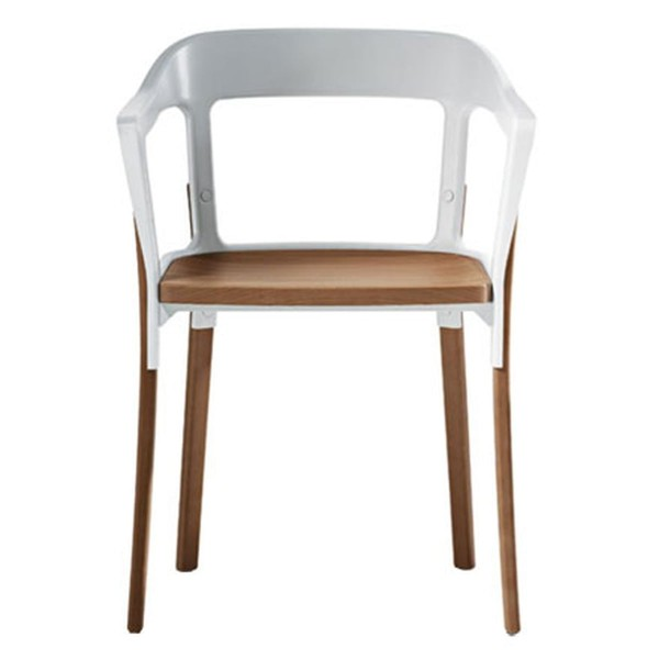 Magis Steelwood Chair weiß - Buche natur