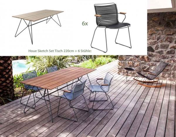 Houe Sketch Gartenmöbel Set3 Tisch mit 6 Stühlen