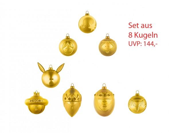 Alessi goldene Weihnachtskugel 8er SET