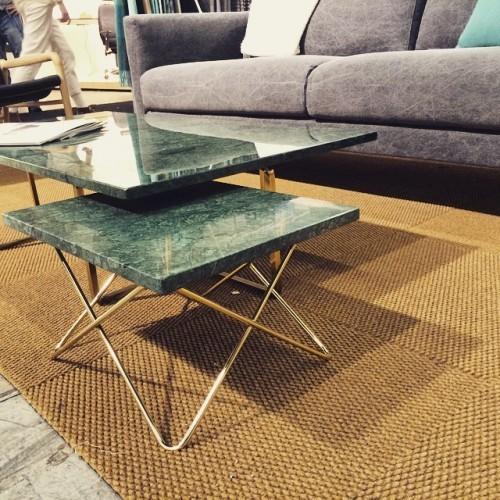 OX Denmark X Table Beistelltisch, marmor grün Gestell messing
